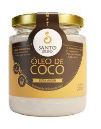 ÓLEO DE COCO SANTO OLEO -   EXTRA VIRGEM EXTRAÍDO DA PELÍCULA DO COCO- 200ml - (ANTIGO VIRGEM)